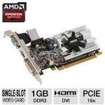 MSI Radeon HD 6450 R6450-MD1GD3/LP Video Card - 1GB, DDR3, PCI-Express 2.1(x16), 1x Dual-link DVI-D, 1x HDMI, 1x VGA, DirectX 11, Single-Slot, Low Profile - R6450-MD1GD3/LP