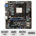 MSI FM2-A75MA-E35 Socket FM2 Motherboard - MicroATX, Socket FM2, AMD 75, DDR3 2133(O.C.) MHz, 8-CH Audio, Gigabit LAN, USB 3.0, PCIe 2.0, DirectX 11