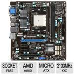 MSI FM2-A85XMA-E35 AMD FM2 Motherboard - Micro ATX, Socket FM2, AMD A85X, 1333MHz DDR3, SATA III (6Gb/s), RAID, 8-CH Audio, Gigabit LAN, USB 3.0 (FM2-A85XMA-E35)