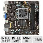MSI C847IS-P33 Intel NM70 Motherboard - Mini-ITX, FCBGA1023, Intel Celeron 847/ 1.1 GHz/ Dual-Core CPU, Intel NM70, DDR3 1333 MHz, SATA III (6Gb/s), 8-CH Audio, Gigabit LAN, USB 2.0 (C847IS-P33)