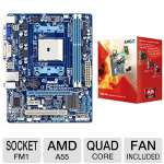 GIGABYTE GA-A55M-DS2 AMD A Series Motherboard and AMD Quad-Core A8-3850 2.9GHz Radeon HD 6550D APU Bundle