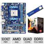 GIGABYTE GA-A55M-DS2 AMD A Series Motherboard and AMD Quad-Core A8-3870K 3.0GHz Radeon HD 6550D APU and ADATA Premier Srs 4GB DDR3 Desktop Memory Module Bundle