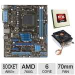 ASUS M5A78L-M LX PLUS AMD 760G AM3+ Motherboard and AMD FX-6100 3.30 GHz Six Core AM3+ Unlocked CPU and Thermaltake CL-P0503 70mm CPU Cooler Bundle