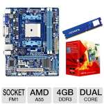 GIGABYTE GA-A55M-DS2 AMD A Series Motherboard and AMD A4-Series A4-3400 APU and ADATA Premier Srs 4GB DDR3 Desktop Memory Module Bundle