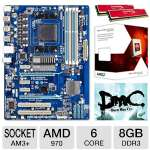 GIGABYTE AMD GA-970A-DS3 AM3+ FX ATX Motherboard and AMD FX-6100 3.30 GHz Six Core AM3+ Unlocked CPU and Kingston HyperX Red 8GB Memory Module and Kingston HyperX Game Coupon Bundle