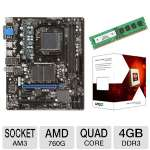 MSI 760GM-P23 (FX) AMD Socket AM3+ Motherboard and AMD FX-4100 3.60 GHz Quad Core AM3+ Unlocked CPU and Centon 4GB Desktop Memory Module Bundle
