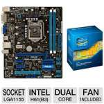 ASUS P8H61-M LE/CSM R2.0 Socket 1155 Motherboard and Intel Core i3-3220 Processor Bundle