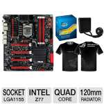 ASUS Intel Z77 Express Motherboard and Intel Core i7-3770K 3.50 GHz Quad Core Unlocked and Corsair Hydro H70 CORE Liquid CPU Cooler and ASUS REPUBLIC OF GAMERS T-SHIRT Bundle