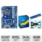 Gigabyte Intel Z77 Motherboard and Intel Core i3-3220 Processor and Kingston HyperX Blu 8GB Desktop Memory Module and Kingston HyperX Game Coupon Bundle