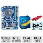 Gigabyte GA-B75M-HD3 Intel B75 Motherboard and Intel Core i3-3220 Processor and Kingston HyperX Red 8GB Memory Module and Kingston HyperX Game Coupon Bundle