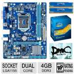 Gigabyte GA-H61M-S1 Intel H61 Express Motherboard and Intel Core i3-3220 Processor and Kingston 4GB (2 x 2GB) DDR3 HyperX Blu Memory Kit and Kingston HyperX Game Coupon Bundle