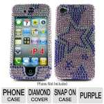 Mobo ECMIPH4LXF41 Cell Phone Diamond Snap On Case - Compatible with iPhone 4, Purple