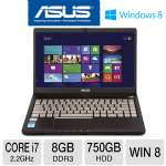 ASUS Q400A Laptop Computer - 3rd generation Intel Core i7-3632QM 2.2GHz, 8GB DDR3, 750GB HDD, DVDRW, 14 in. Display, Windows 8 64-bit (RB-Q400ARF-BHI7N03) (Refurbished)