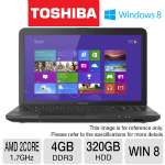 Toshiba Satellite C855D Notebook PC - AMD Dual-Core E-450 1.7GHz, 4GB DDR3, 320GB HDD, DVDRW, 15.6 in. Display, Windows 8 64-bit (RB-PSCBQU-00800JB) (Refurbished)
