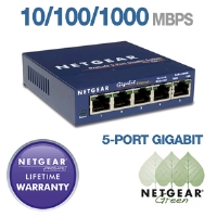 Netgear - GS105 - 5-Port 10/100/1000Mbps Copper Gigabit Switch