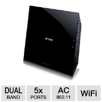 Netgear R6200 WiFi Router - 5x Ports (1 WAN and 4 LAN), 10/100/1000, USB 2.0, 802.11ac, Dual Band, WPA/WPA2PSK (R6200-100NAS)