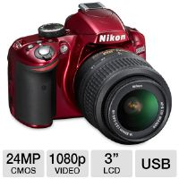 "Nikon 25496 D3200 Digital SLR Camera - 24 Megapixels, CMOS Sensor, 3"" LCD, Full HD 1080p Video, SD Card Slot, Red"