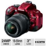 "Nikon D5200 Digital SLR Camera with 18-55mm Lens - 24.1 Megapixels, CMOS Sensor, 3"" LCD, Full HD 1080p Movies, Red (1507)"