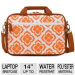 "NuoTech Chloe Dao Attach� 102091 14"" Laptop Briefcase - Water-resistant, Front Zipper Pocket, Organizer, Detachable Padded Shoulder Strap, Orange and White"