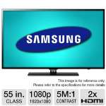 "Samsung 55"" Class LED HDTV - 1080p, 1920 x 1080, 120Hz, 5000000:1 Dynamic, Clear Motion Rate 240, 2x HDMI, USB, Energy Star (Refurbished) (RB-UN55EH6000)"