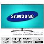 "Samsung 55"" Class Slim LED 3D HDTV - 1080p, 1920 x 1080, 240Hz 25000000:1 Dynamic, Clear Motion Rate 840, HDMI, USB, Wi-Fi, Smart TV, Built-in Camera, Energy Star (Refurbished) (RB-UN55ES7500)"