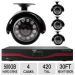 "This surveillance system includes four high-performance cameras that utilize 1/4"" Color CMOS Sensor to deliver you crystal-clear images with up to 420"