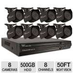 Night Owl 8 Channel Security System - 8 Cameras, 500GB HDD, 50' ft Night Vision, 420 TVL, Mobile Viewing, Motion Activated, Email Alerts, 60' ft Cable (ADV1-88500)