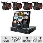 Night Owl 8 Channel Security System - 500GB HDD, 600TVL, 10.1&quot; Fold Out LCD Screen, 4 Cameras, Motion Activated, Email Alerts, 50' ft Night Vision, View on Mobile Devices (NODVR108-54-645)
