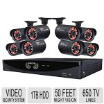 Night Owl 960H 16 Channel 8 Camera 650 TV Lines 1TB HDD Security Camera System - 50ft Night Vision, Motion Activation, Remote Viewing, HDMI, No Monthly Fees - F6-161-8624N