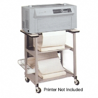 The Oki Data PM4410 printer stand features shelves that are offset for dual feeding, a laminated top which includes cut-outs for paper feeding.