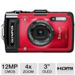 Olympus Tough TG-2 12MP iHS Red Camera - 3&quot; OLED, 4x Optical, 4x Digital, 8x Super Resolution, Shockproof, Waterproof, Freezeproof, Crushproof, Dustproof (V104120RU000)