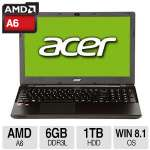 "Acer Aspire E5-521-65B8 Notebook PC - AMD A6-6310 Quad-Core, 6GB Memory, 1TB HDD, 15.6"" HD 1366 X 768 Display, Windows 8.1 64-bit - NX.MLFAA.017"