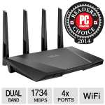 Asus RT-AC87U Dual-Band Wireless AC2400 Router -  Up to 1734Mbit/s at 5GHz and 600Mbit/s speeds at 2.4GHz, Gigabit WAN/LAN, USB 2.0 & 3.0, 802.11 ac/b/g/n, Black