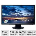 ASUS 23.6� LED Monitor � Full HD 1920 x 1080 Resolution, 16:9, 2ms Response Time, 10M: 1 Dynamic Contrast Ratio, 300 cd/m2 Brightness, HDMI, DVI-D, VGA (Open Box) - VE247H