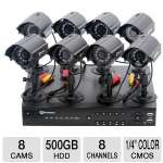 Proximus P16-41439-R Security Camera System - 8 Channel, 500GB HDD, H.264, 8x Bullet Cameras, 1/4&quot; Color CMOS, 6.0mm Lens, 400TVL, 30' Night Vision Range, Refurbished