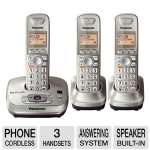 Panasonic RBKX-TG4023N Cordless Phone - Answering System, Triple Handset, Wall Mounting Adaptor, Base Built-in Speaker