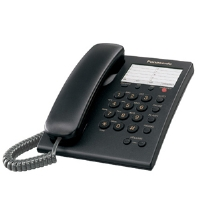 Panasonic KX-TS550B Corded Phone System - 1 Line, Hearing Aid Compatible, Caller Waiting, Emergency Button, Black