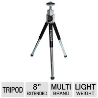 "Polaroid PLTRI8 8"" Aluminum Tripod - 3-Section, Rubber-tipped Legs, 8"" Extended, 5"" Folded, 8 0z."