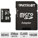 Patriot 64GB microSDXC Flash Card - Class 10, With Adapter, Up To 30MB/s Read Speed, Up To 20MB/s Write Speed (PSF64GMCSDXC10)