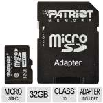 Patriot PSF32GMCSDHC10 microSDHC Flash Card - 32GB, Class 10, Adapter