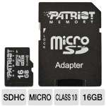 Patriot Signature Flash PSF16GMCSDHC10 MicroSDHC Card - 16GB, Class 10, Adapter