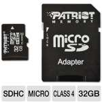 Patriot PSF32GMCSDHC43P MicroSDHC Flash Card - 32GB, Class 4