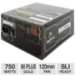 XFX PRO Series 750W Power Supply -  Modular, Single +12V Rails, 80+ Gold, High Reliable 105�C Japanese Capacitors, 120mm Fan  (P1-750B-BEFX)