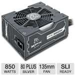 XFX P1850BNLG9 Pro Series XXX Edition ATX Semi-Modular Power Supply - 850W, 80 Plus Silver, 135mm Fan, Active PFC