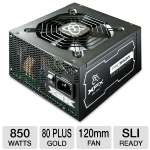 XFX PRO Series 850W Power Supply -  Modular, Single +12V Rails, 80+ Gold, High Reliable 105�C Japanese Capacitors, 120mm Fan   - P1-850B-BEFX