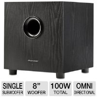 "Pioneer Andrew Jones Designed SW-8MK2 Subwoofer - 38Hz-150Hz, 100 Watt-Powered Amplifier (50W FTC Power Output), 8"" Driver"