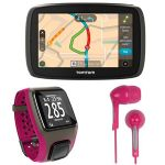 TomTom GO 60S GPS and TomTom Multi-Sport GPS Fitness Watch Dark Pink and RCA HP59PK Pillowz Pink Stereo Bonus Earbuds Bundle