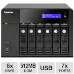 QNAP 6-Bay NAS Server - Tower, Intel Atom Dual-core Processor, 2.13 GHz, 512MB DOM, 6 x Hot-swappable Tray, 2 x Gigabit Ethernet Port, 2 x USB 3.0 Ports, 5 x USB 2.0 Ports (TS-669-PRO-US)