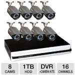 Q-See QS4816-885-1 16 Ch DVR Security System - 8 Cameras, 1TB Hard Drive, HDMI Connection, 600TVL, 100' ft Night Vision, Works w/ Mac and PC, Monitor on iPad and Mobile Devices, Motion Detection