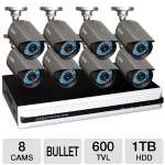 Q-See 8 Channel Security System - 1TB HDD, 8 High Resolution Cameras, H.264, HDMI Port, 600 TVL, Remote Monitoring, 4 Recording Modes, Remote Viewing, Works/ PC and Mac (QS558-885-1)